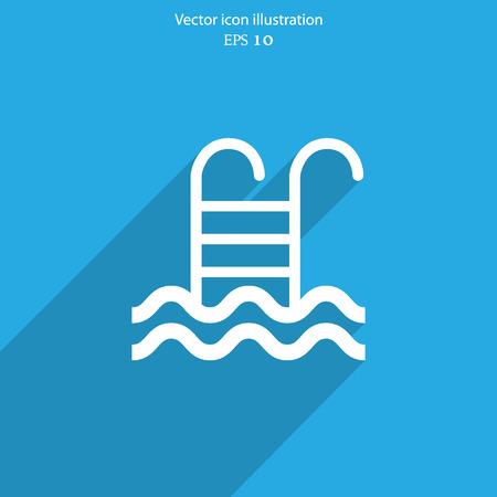 Vector swimming pool ladder flat icon illustration.