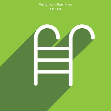 stepladder: Vector swimming pool ladder flat icon illustration.