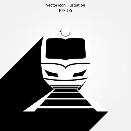 highspeed: Vector train with rail-road flat icon illustration. Illustration