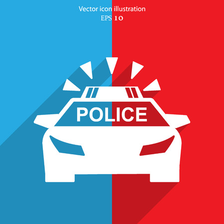 traffic police: Vector police car flat icon illustration.