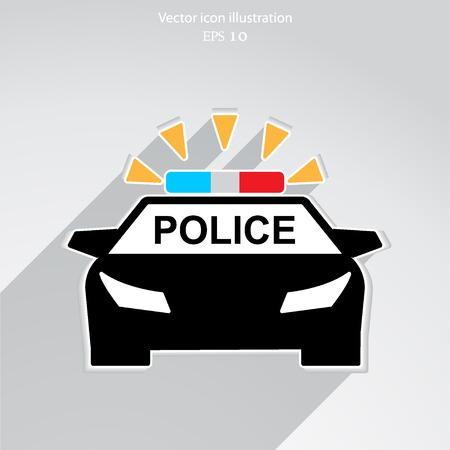 cruiser: Vector police car flat icon illustration.