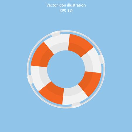 Vector lifebuoy web flat icon. Eps 10.  イラスト・ベクター素材