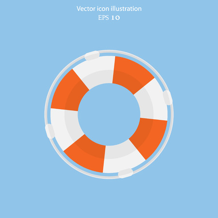 life guard: Vector lifebuoy web flat icon. Eps 10. Illustration