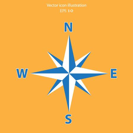 azimuth: Vector compass web flat icon. Eps 10 illustration.