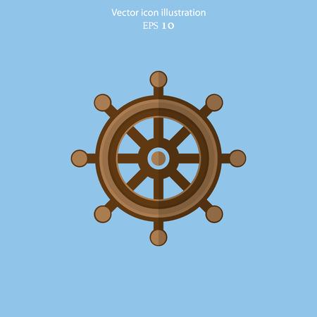 piloting: Vector rudder web flat icon. Eps 10 illustration.