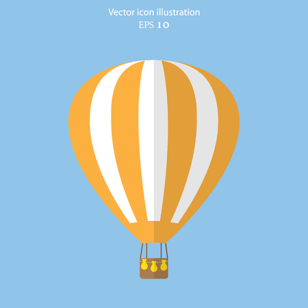 hot: Vector hot air balloon web flat icon. Eps 10.