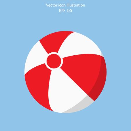 vacaciones en la playa: Vector icono de la pelota de playa plana Vectores