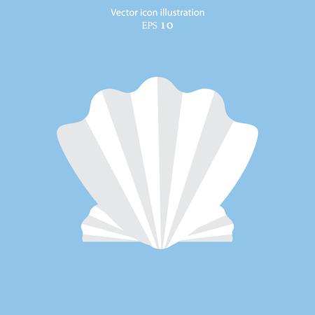 cockle: Vector sea shell flat icon illustration. Illustration