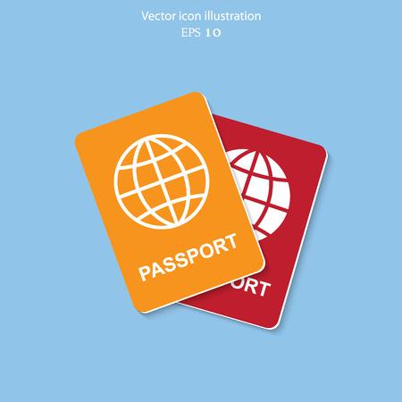 emigration: Vector passport flat icon illustration.