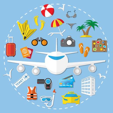 Viajes Vector icono plana ilustración. Foto de archivo - 43447015