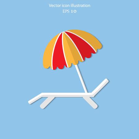 recliner: Vector beach umbrella and lounger flat icon illustration. Illustration