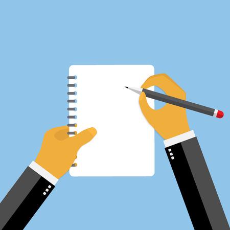 transcribe: Businessman hand filling checklist illustration.