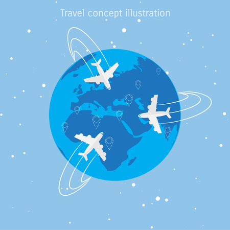world travel: World travel and tourism concept illustration.