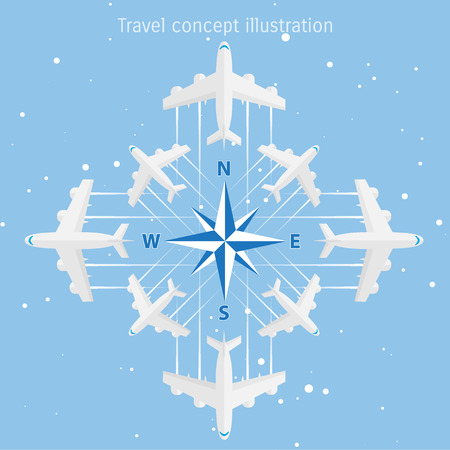 azimuth: World travel and tourism concept illustration.