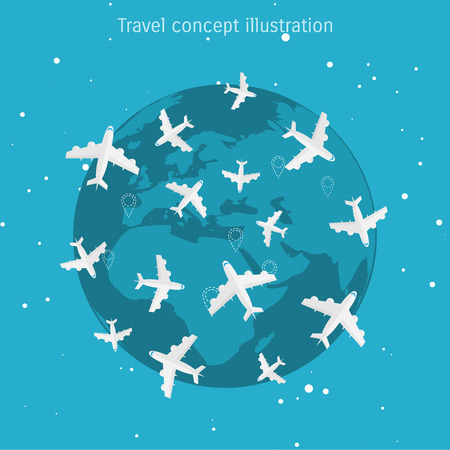 excursions: World travel and tourism concept illustration.