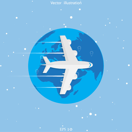 air travel: World travel and tourism concept illustration.