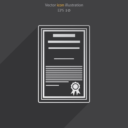attestation: Vector certificate flat icon illustration