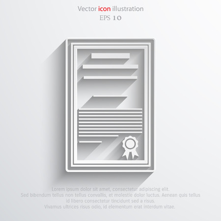 accreditation: Vector certificate flat icon illustration