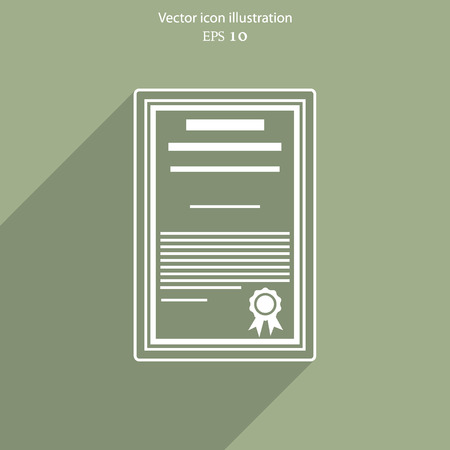Vector certificate flat icon illustration