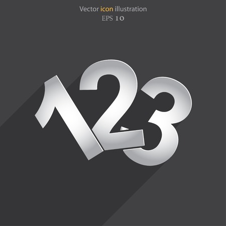 numbers icon: Vector 123 numbers flat icon illustration