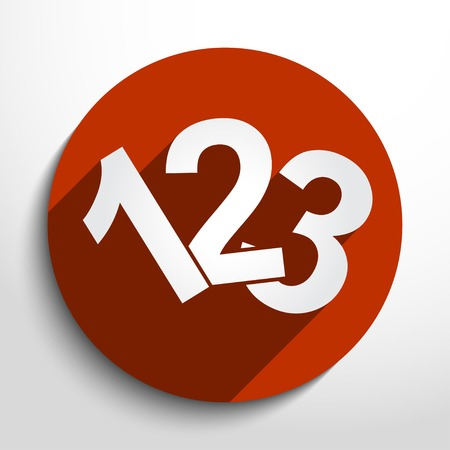 Vector 123 numbers flat icon illustration