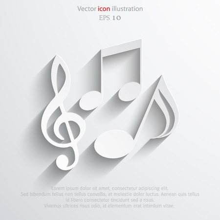 Vector music notes flat icon illustration