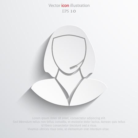 cabeza femenina: Apoyar a las personas icono plana ilustración. Vectores
