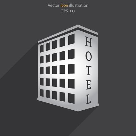 headquarters: Vector hotel flat icon illustration. Illustration