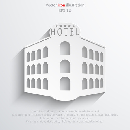 Vector hotel flat icon illustration. Illustration