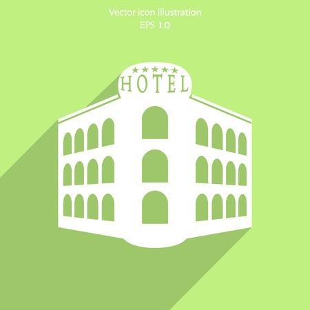 Vector hotel flat icon illustration.  イラスト・ベクター素材