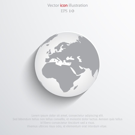 Vector globe flat web icon.