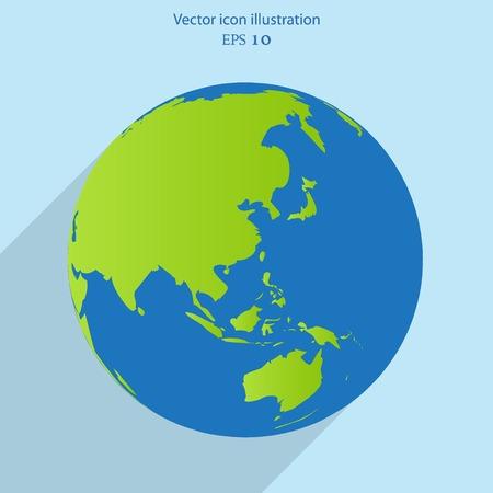 realist: Vector globe flat web icon.  Illustration