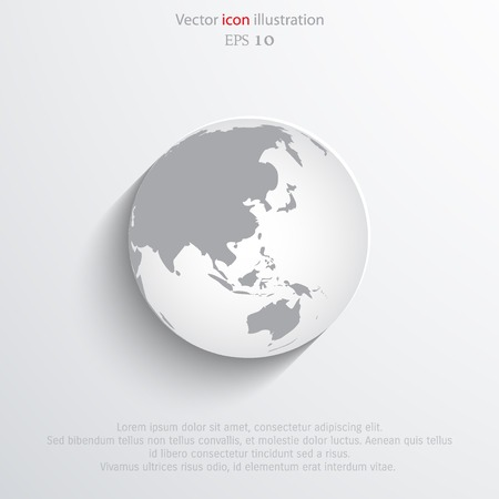 Vector globe flat web icon.  Illustration