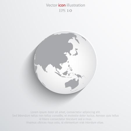 Vector globe flat web icon.  Illustration