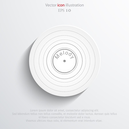 vinyl record: Vector vinyl record web icon.  Illustration