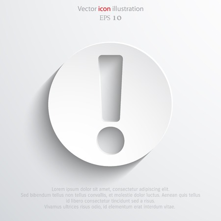 secure brake: Vector exclamation web flat icon background.