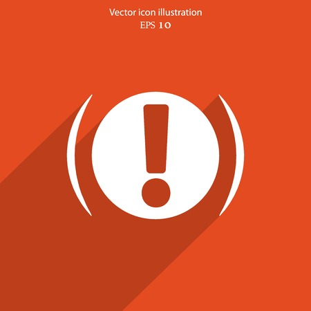 Vector exclamation web flat icon background.