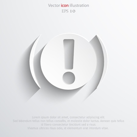 secure brake: Vector exclamation web flat icon background. Eps 10.
