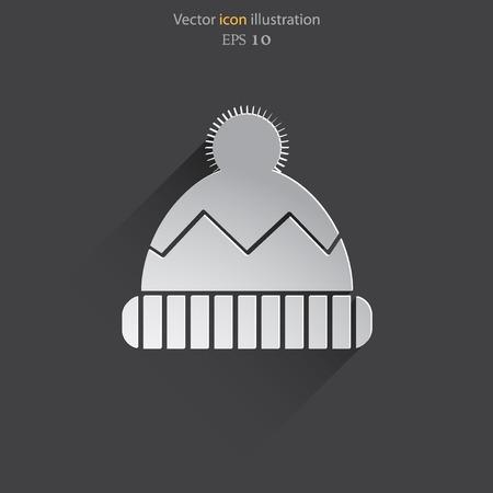web cap: Vector winter cap web flat icon.  Illustration