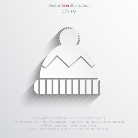 web cap: Vector winter cap web flat icon.