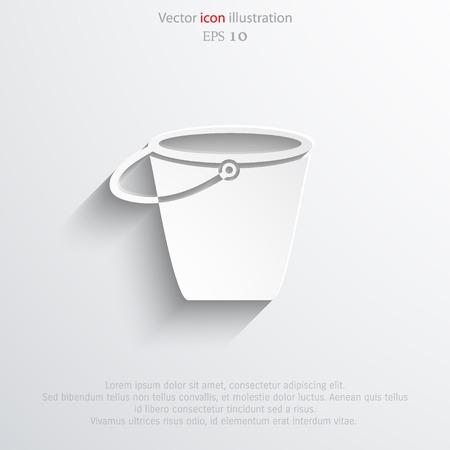 bushel: Vector bucket flat icon illustration.