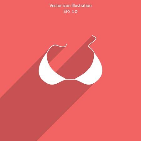 woman bra: Vector bra flat icon illustration.