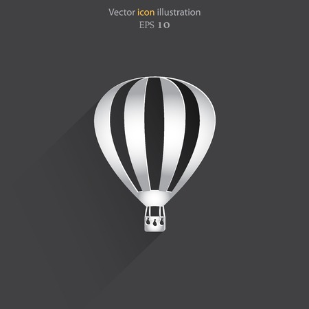 exciting: Vector hot air balloon web flat icon.  Illustration