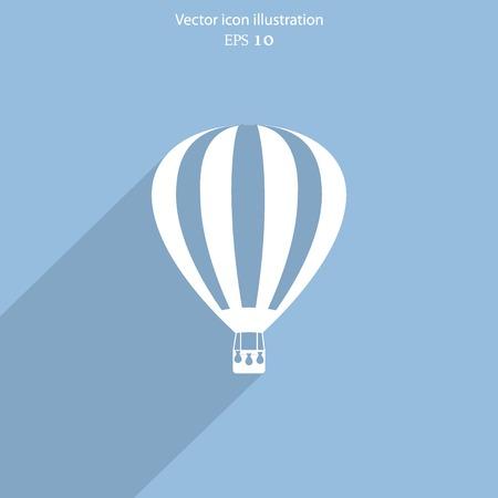ballooning: Vector hot air balloon web flat icon. Eps 10.