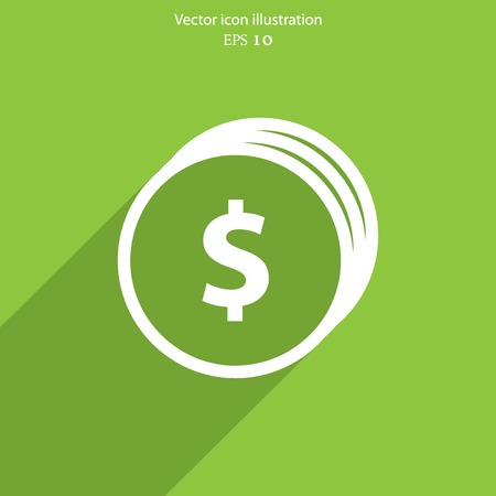 Vector coins with dollar sign web flat icon. Illustration