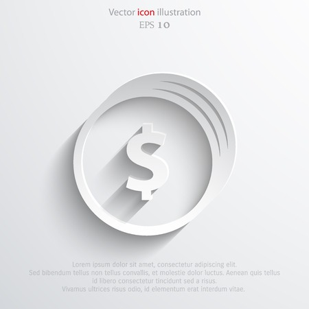 Vector coins with dollar sign web flat icon. Ilustrace