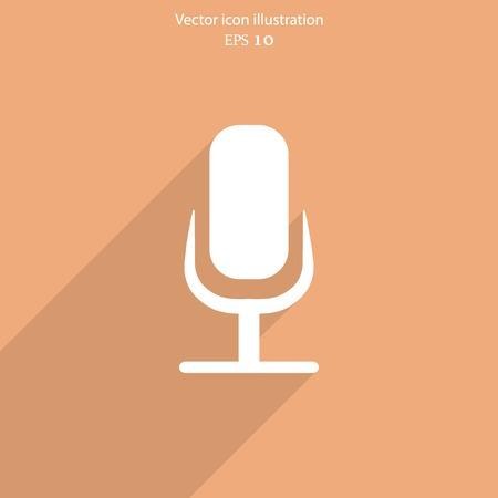 entertaining presentation: Vector microphone web flat icon.