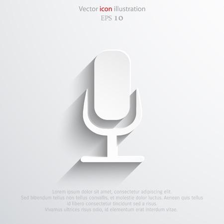 Vector microphone web flat icon. Eps 10. Illustration