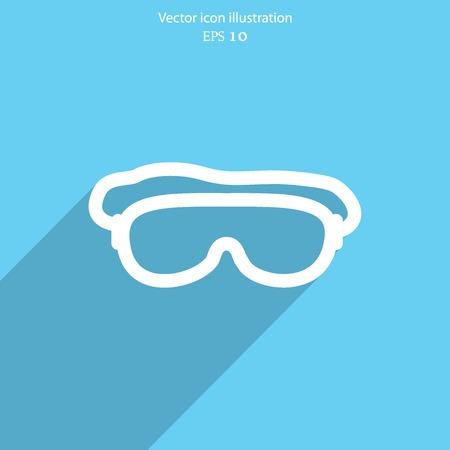 free diver: Vector diving mask  web flat icon. Illustration