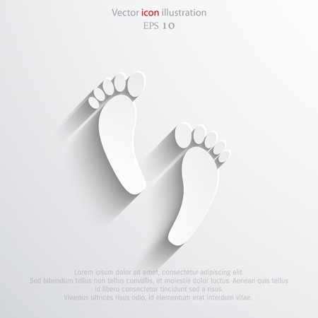 finger proof: Vector Human foot print web flat icon. Eps 10.